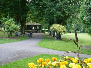 Ashbourne Memorial Grounds looking towards the bandstand