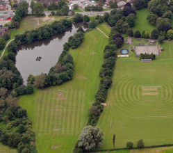 Aerial view of Ashbourne Recreation Ground and Fishpond Meadow