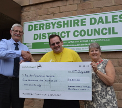 Long standing Matlock councillor Steve Flitter's fund-raising year as Derbyshire Dales District Council's civic leader really took off - boosting the local Air Ambulance service's coffers by £5,501.