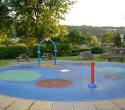 Bakewell Recreation Ground play area splash pads are back in action today (21 June) following the delivery of a replacement part.