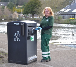 Clean & Green Team member Debbie Barke with one of the new bins in Bakewell