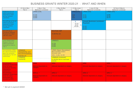 Business grants what and when Feb 2021