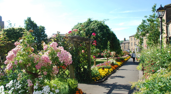 The beautiful Bath Gardens in Bakewell town centre