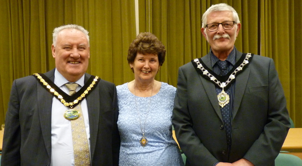 Chairman of the District of the Derbyshire Dales Cllr Tom Donnelly, his wife Denise and Vice Chairman Councillor Steve Flitter