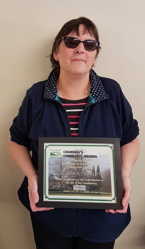 Sandra Purslow with her Community Award
