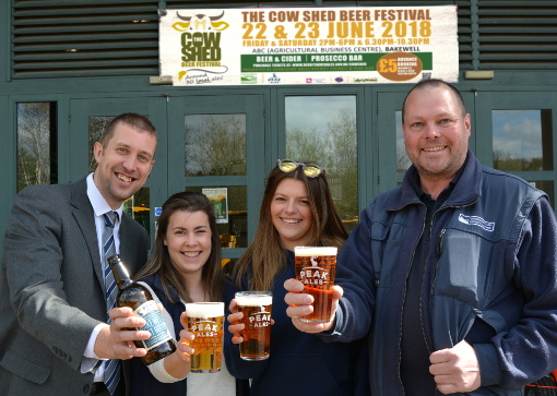 Dave Turvey (left and Bob Eccles from the District Council with Elly Hopkinson and Tiggie Clasper from Peak Ales