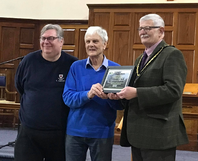 Tom Pilkington receives his Community Award from Cllr Flitter