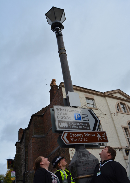 One of the CCTV units installed near the Town Hall in Wirksworth