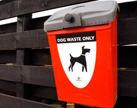 Red dog waste bin on fence