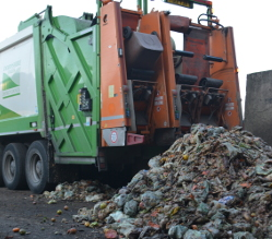 Food waste being unloaded from one of our trucks at Vital Earth