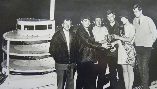 Geoff Stevens pictured far right with the winning Derwent Belle boat in 1968