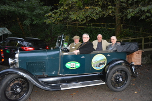 Geoff and Jacquie Stevens arrive in a vintage car with Chairman of the District of the Derbyshire Dales Cllr Steve Flitter