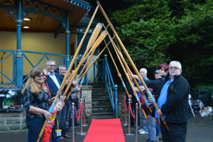 Matlock Bath Boat Builders Association guard of honour for Geoff Stevens