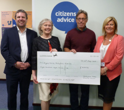 Last year's civic leader of Derbyshire Dales District Council has presented more than £2,400 to three local charities.