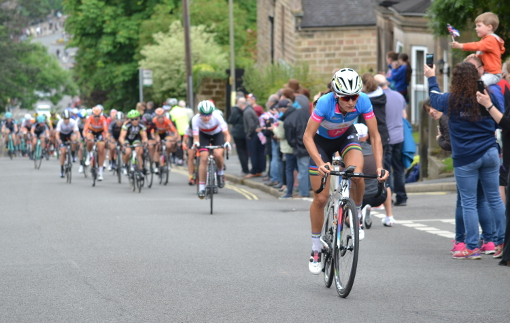 Stage winner Lizzie Armitstead at the top of Bank Road Matlock (photo: Cara Marchant)