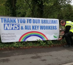 As we prepare to clap again for the NHS and key workers tonight (Thursday 30 April), we've put up banners on land we own in all five Derbyshire Dales towns to say *thank you*.