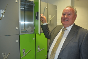 Cllr Tom Donnelly in the new changing village at Ashbourne Leisure Centre 300px