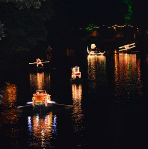 Decorated boats on the Derwent at the 2014 Illuminations