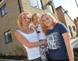 New tenant at Poppyfields Close, Ali-May Sansford, with daughters Beth 14 and Maya 7