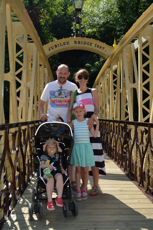 The Partingtons from Sheffield - one of the first families to cross the renovated Jubilee Bridge