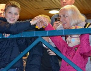 The big switch on performed by Cllr Carol Walker and helpers