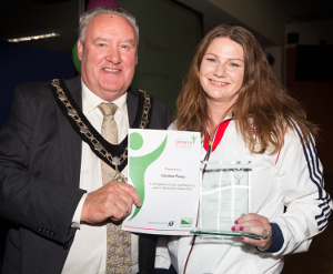 DDSA Sportsperson of the Year Caroline Povey with Cllr Tom Donnelly. Photo www.xciteimages.com