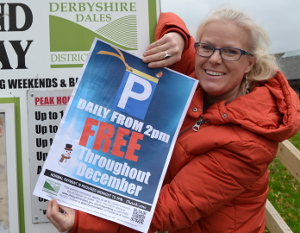 Parks and Streetscene officer Helen Carrington promotes the free December parking incentive