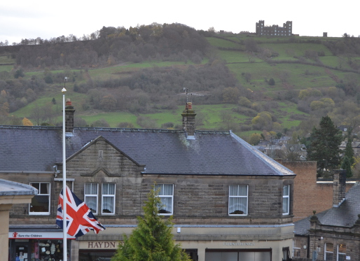 Union Flag flies at half mast at Matlock Town Hall in memory of victims of Paris terror attacks