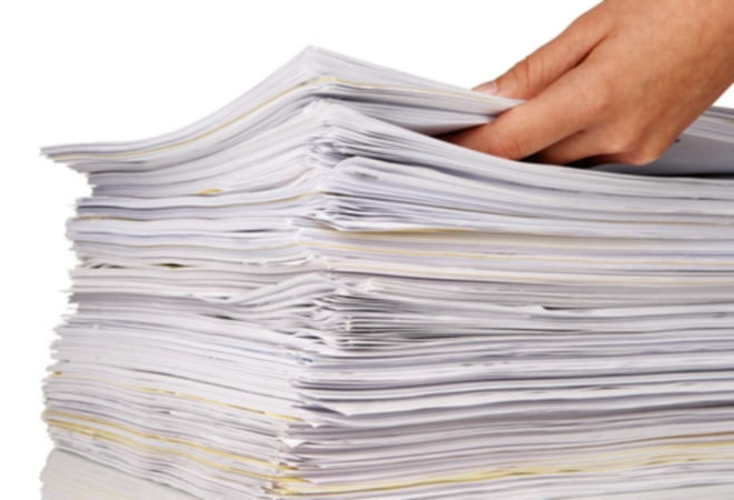 A stack of committee papers