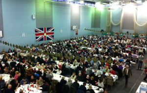 The main sports hall at Ashbourne Leisure Centre - hosting the Shrovetide luncheon