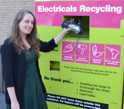Derbyshire Dales District Council recycling advisor Chloe Lewis at one of the new recycling banks.